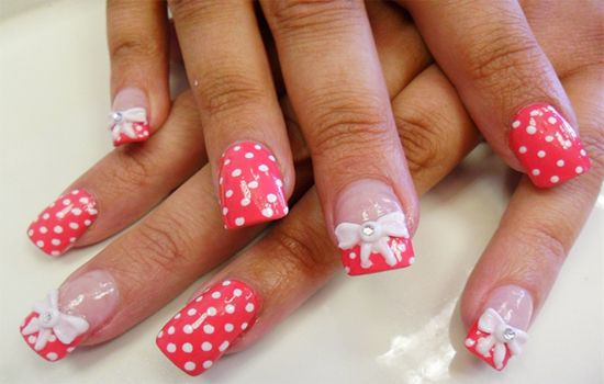 Bows and polka dots nail designs