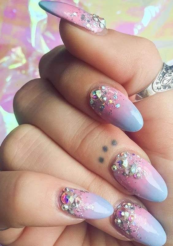 Crystal Pastel Nail Art Designs