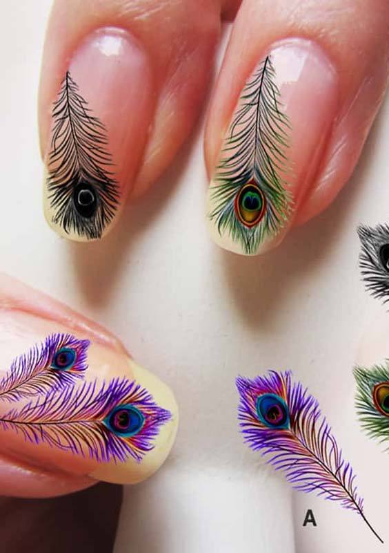 Peacock Nail Arts Designs for Women