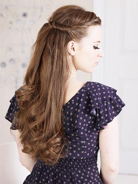 Half half up half down Twisted hairstyles