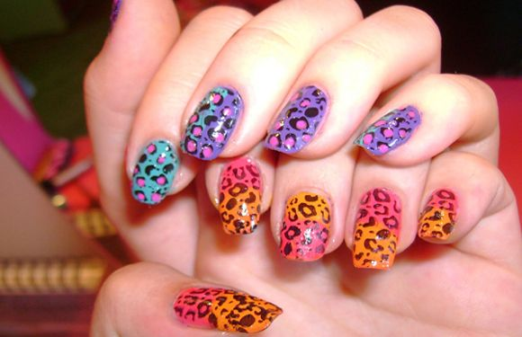 Neon colored leopard prints nail design