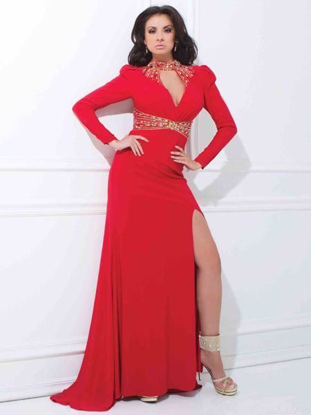 high neck prom dress wrap front