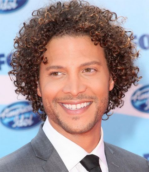 Spiral curly hairstyle for men
