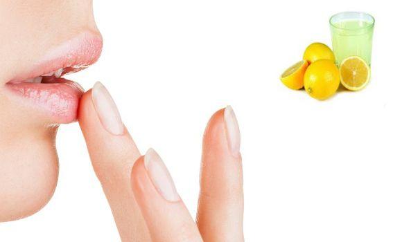 lips care with lemon