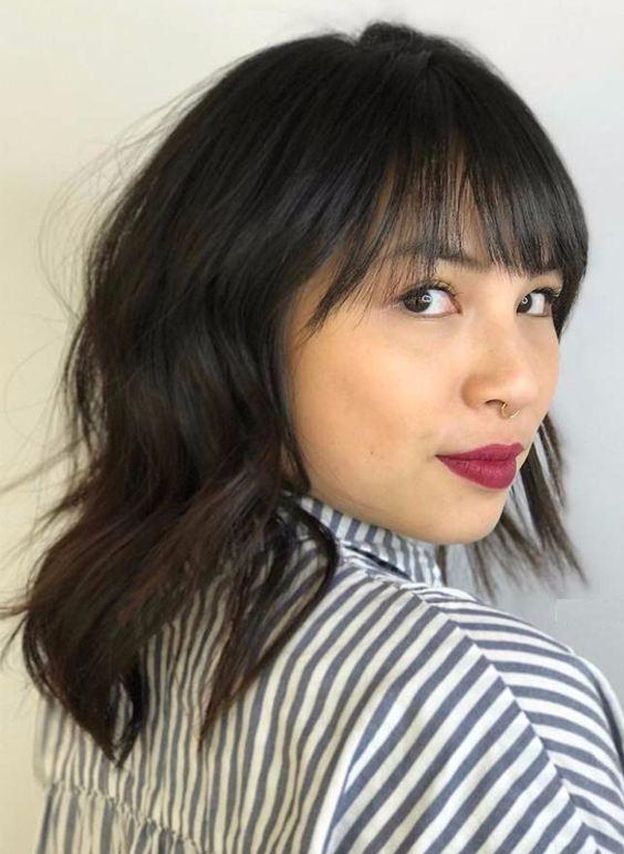 Medium layered bang hairstyles 2018