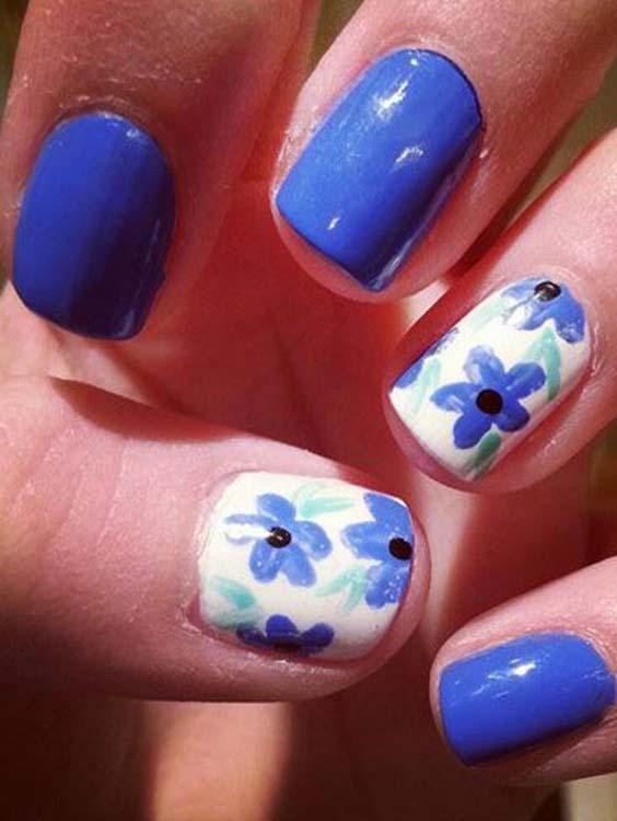 Blue Nail Art Designs for Ladies