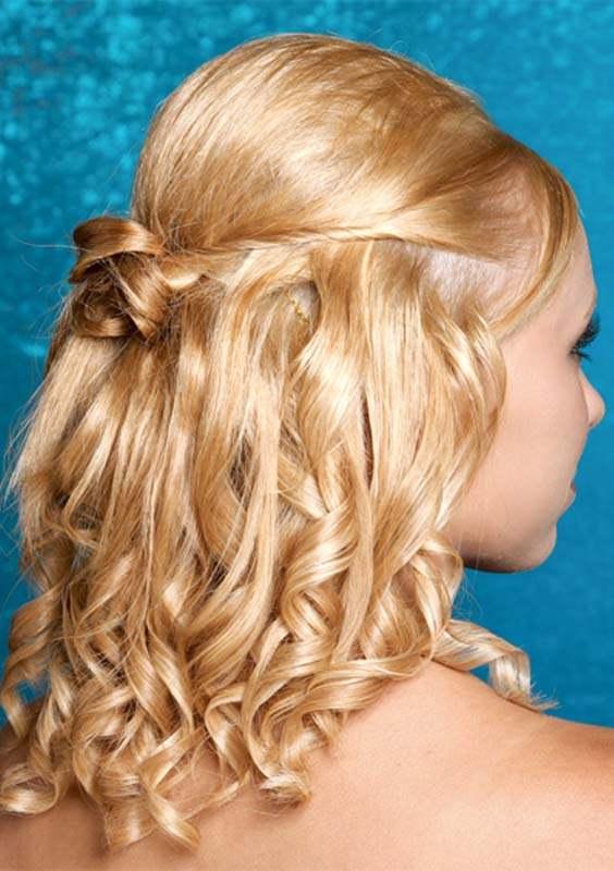 Curly Half up Shoulder Length Haircuts 2018