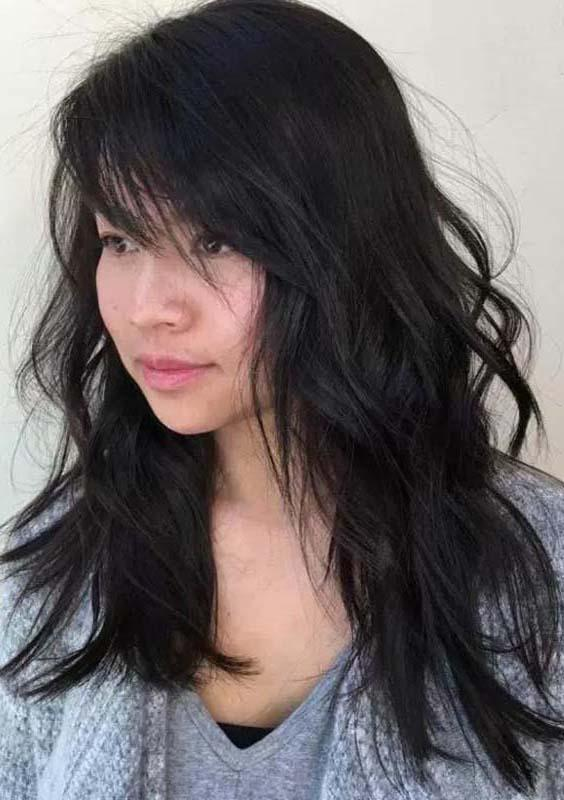 Long Layers with Side Swept Bangs