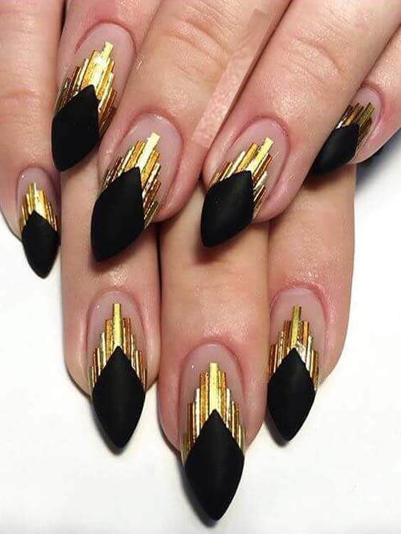 Matte Black and Gold Nails Designs