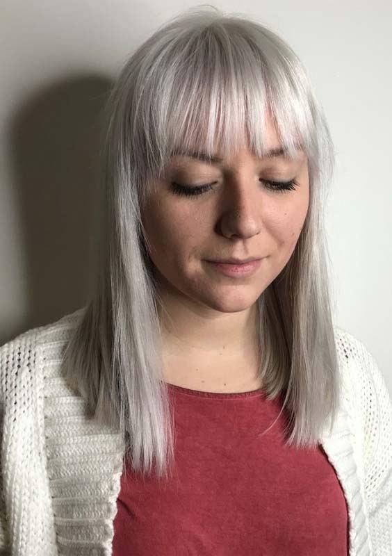 Silver Straight Wispy Bangs