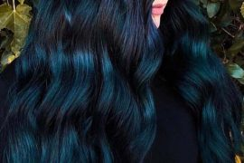 Deep Blue Long Wavy Hairstyles for 2018