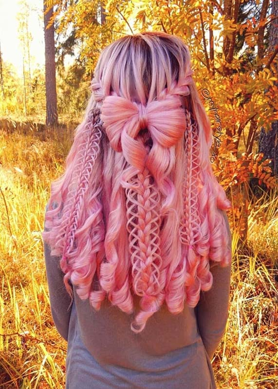 Fabulous Pink Braided Hairstyle With Curls in 2018