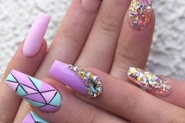 Stylish & Fresh Look of Purple Nails with Creative Design