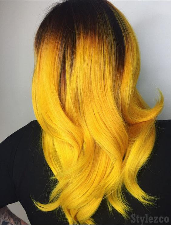 Amazing Yellow Hair Color Highlight & Style for 2019