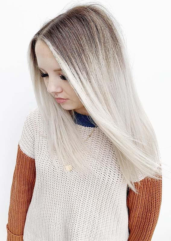 Bright White Blonde with Dark Roots in 2019