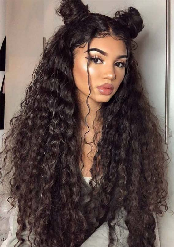 Cutest Long Curly Hairstyles With Top Knots In 2019 Stylezco