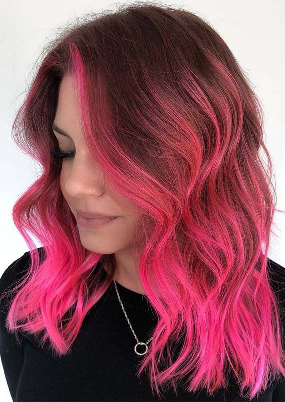 Pink Hair Color Shades with Dark Roots in 2019