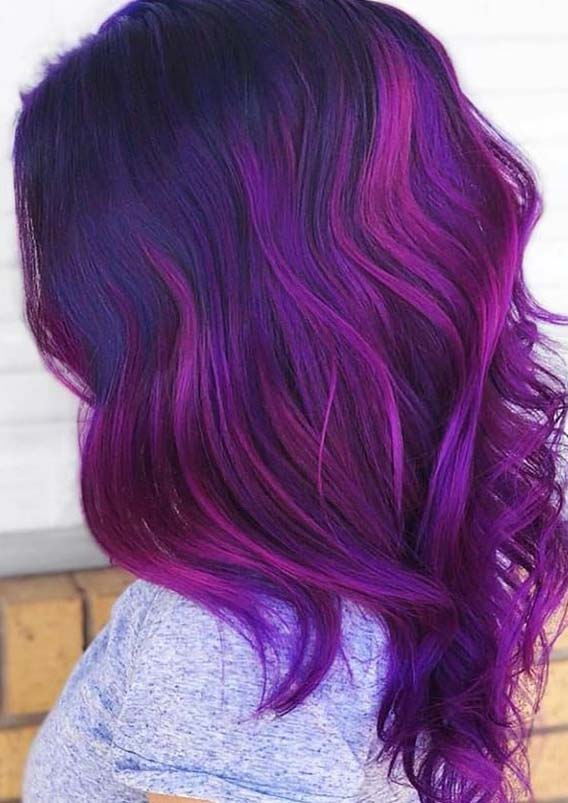 Purple Violet Hair Color Ideas for 2019