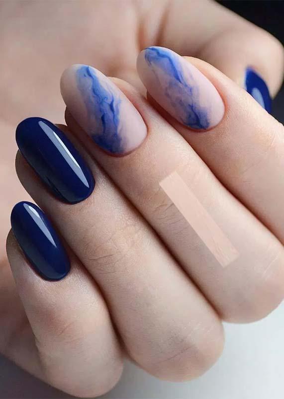 Blue Nail Arts for Spring Season 2019