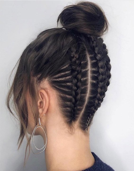 Stylish Braided up Top Knot Hairstyles for Next Occasion