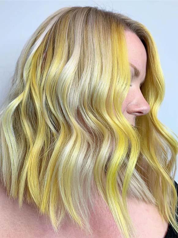 Beautiful Yellow Balayage Hair Color Shades \u0026 Highlights for