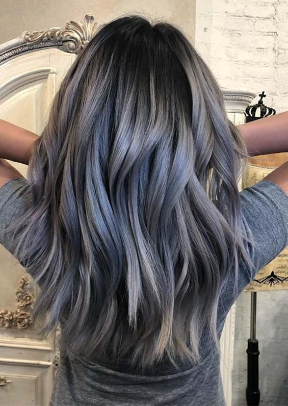Steel blue balayage hair color ideas to follow in 2019