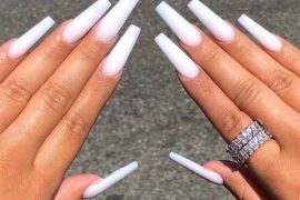 Adorable White Long Nails Designs and Images for 2019
